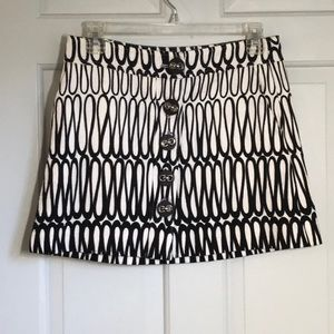 Tibi Black and White Knit Mini Skirt